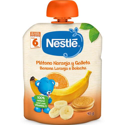 NESTLÉ Bolsita Plátano, Naranja y Galleta 90g