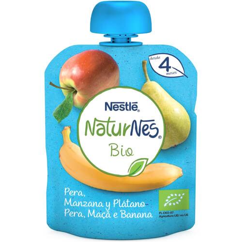 NATURNES BIO Bolsita Pera, Manzana y Plátano 90g